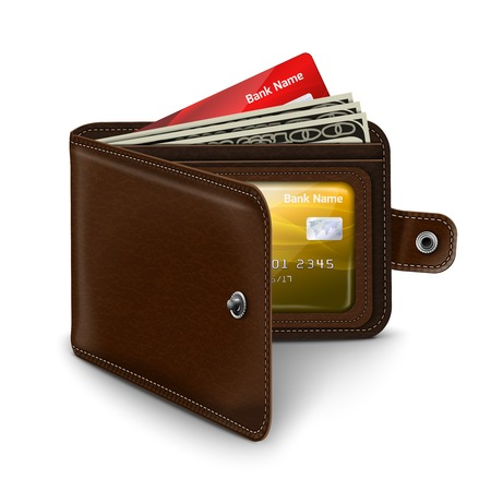 Classic modern brown leather pocket open wallet with credit card money bills and id document  Vector