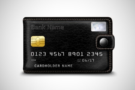 cashless: Classic modern black wallet with leather texture as a bank secure plastic credit card with chip concept isolated Illustration