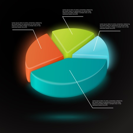 3d pie chart infographics template with data labels  Vector