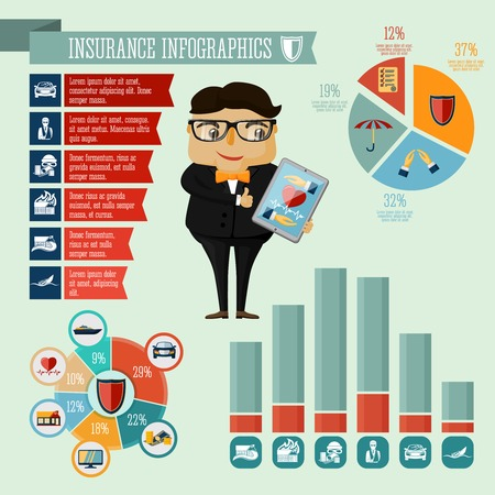 auto accident: Businessman hipster boy insurance company agent infographic presentation design elements with icons charts and graphs
