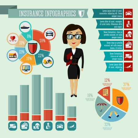 Businesswoman hipster girl insurance company agent infographic presentation design elements with icons charts and graphs  Vector