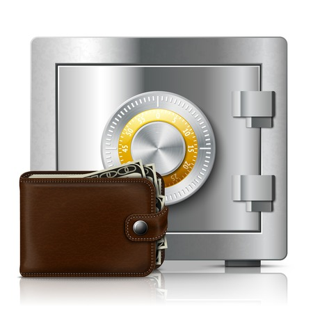 passcode: Classic modern brown leather wallet filled with dollar banknotes and metal shiny safe with code lock