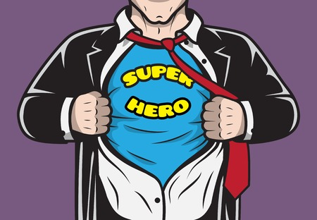 Disguised hidden comic book hero businessman tearing his shirt concept  Vector