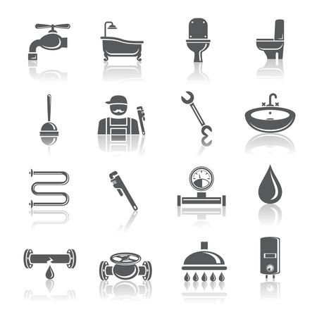 Loodgieter gereedschappen pictogrammen set van badkamer met douche toilet en water buis geïsoleerd