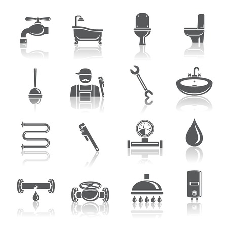 tools: Plumbing tools pictograms set of shower bathroom toilet and water tube isolated