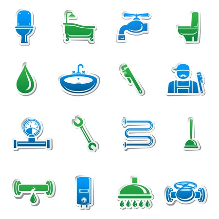 pipe wrench: Plumbing tools sticker collection of plumber tools and pipes design elements  Illustration