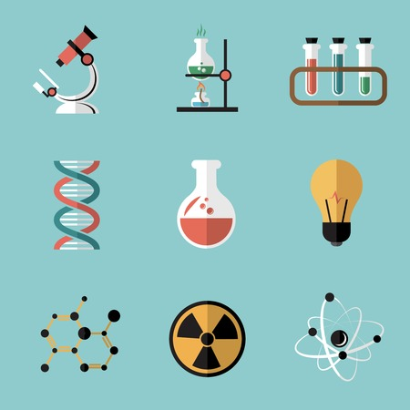 microscope: Chemistry bio technology science flat icons set of molecule nuclear power and microscope for school education isolated