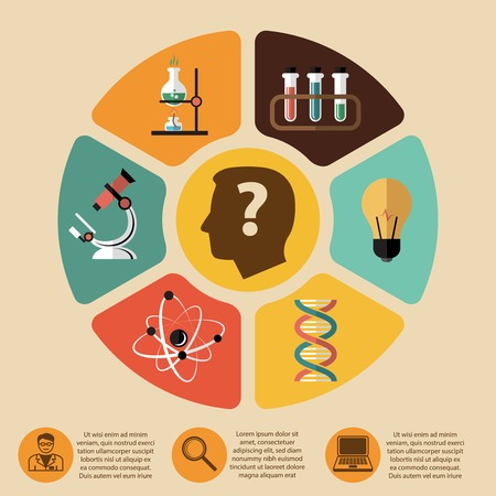 science experiment: Chemistry bio technology science flat infographics layout design elements for school education presentation