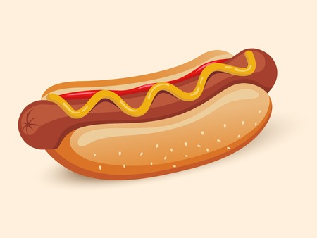 American hotdog sandwich with ketchup and mustard emblem design isolated