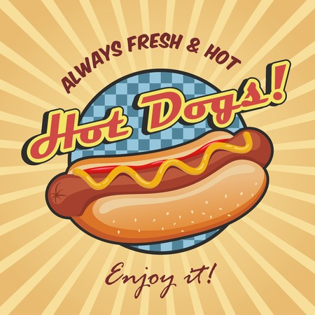 hotdog: American hot dog sandwich with ketchup and mustard poster template