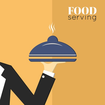 Food serving tray platter with waiter hand restaurant menu design template layout  Vector