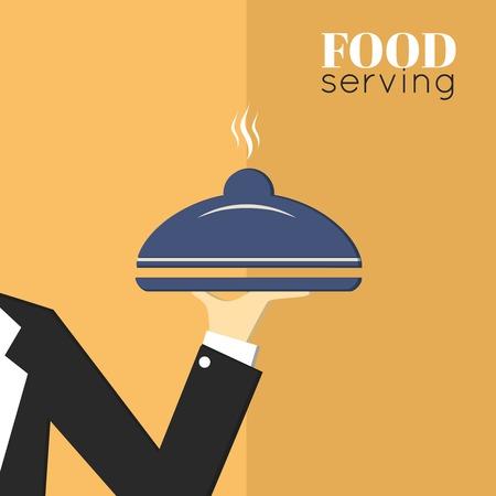 waiter tray: Food serving tray platter with waiter hand restaurant menu design template layout  Illustration