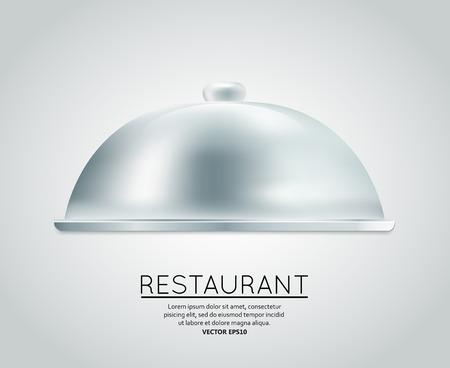 cloche: Restaurant cloche food tray to serve dish meal restaurant menu design template layout Illustration