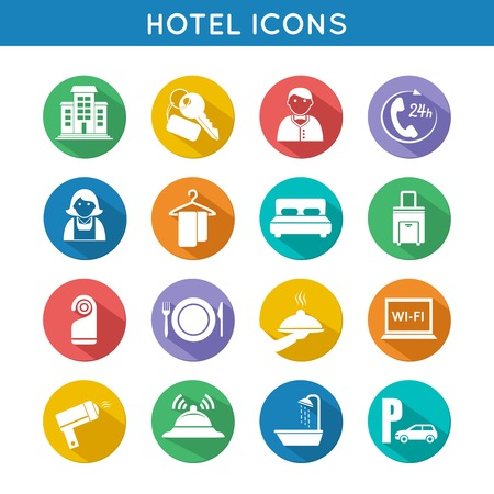 Hotel travel accommodation color icons set of restaurant food towel and bed isolated  Vector