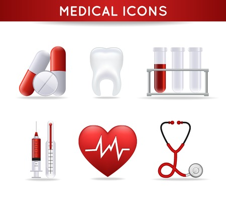 heart rate: Health care medical icons set of pills heart rate tooth and stethoscope isolated