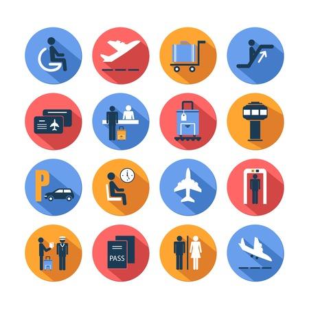Ícones lisos de transporte do aeroporto do jogo colorido com a equipe mala salão carrinho isolado