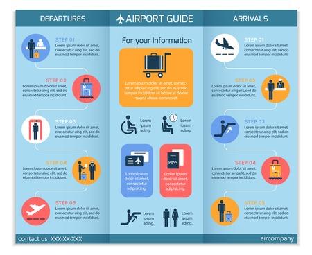 보안 검사 워크 플로우 단계와 공항 비즈니스 인포 그래픽 브로셔 템플릿 일러스트