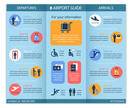 Airport business infographic brochure template with security check workflow steps