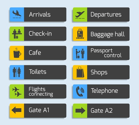 Airport navigation design signboard set with plane arrival departure passport and luggage control icons isolated