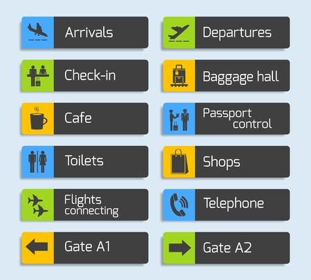 Luchthaven navigatie ontwerp uithangbord set met geïsoleerde vliegtuig aankomst vertrek paspoort en bagage controle iconen Stock Illustratie
