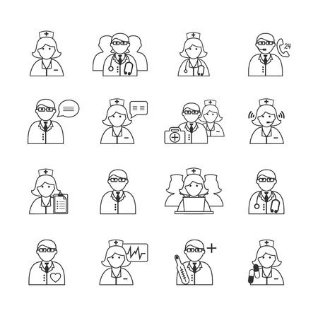Medicine doctors and nurses icons set for emergency healthcare and hospital isolated  Vector