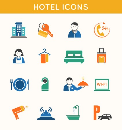 recreation rooms: Hotel travel accommodation flat icons set of bath shower key card and luggage isolated