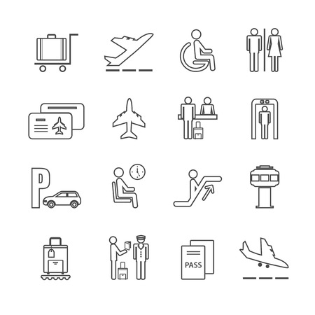 Business airport travel icons set with passport check control board isolated vector illustration