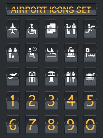 departure: Business airport travel information panel icons set in arrival departure board style