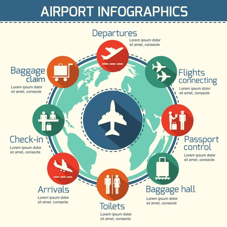 departure board: Airport business infographic presentation template concept design world map and airport service icons