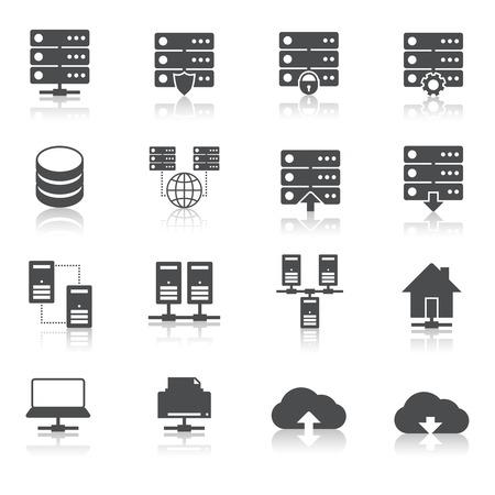 Hébergement Internet pictogrammes ligne technologiques ensemble de l'infrastructure de serveur de réseau de services de centre de données isolées croquis dessinés à la main Illustration