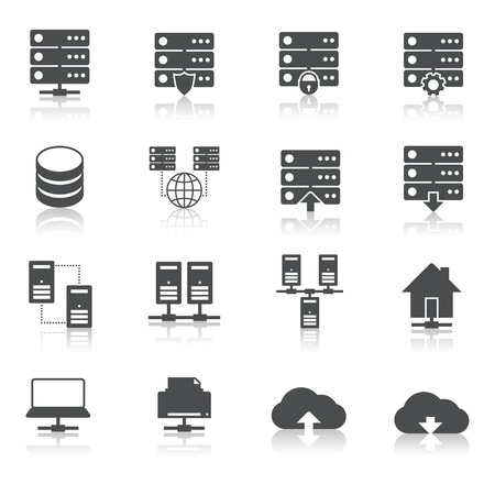 data collection: Online internet hosting technology pictograms set of network server infrastructure data center services isolated hand drawn sketch