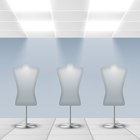 shop display: Illuminated department store shop display dress dummies stands