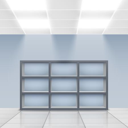 Illuminated department store display empty shelves