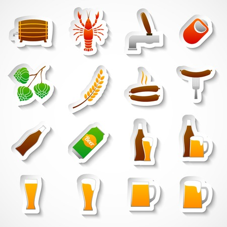 Alcohol beer party stickers set of bottle glass mug crayfish and lobster isolated hand drawn sketch