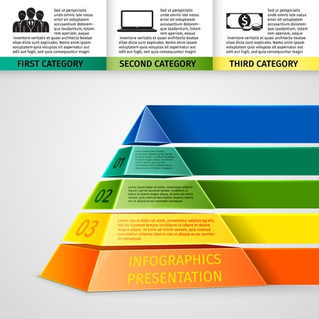 categories: Abstract 3d pyramid infographics design template with title categories and progress options vector illustration