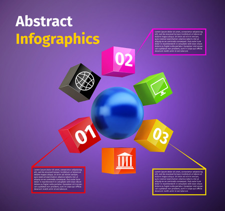 Cubes and spheres business infographics template with data labels and options  Vector