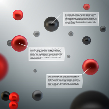Abstract 3d spheres atom bubbles infographics design elements with data labels  Vector