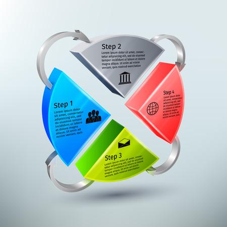抽象的な 3 d 円グラフ ビジネス infographics レイアウト テンプレート プロセスと矢印  イラスト・ベクター素材