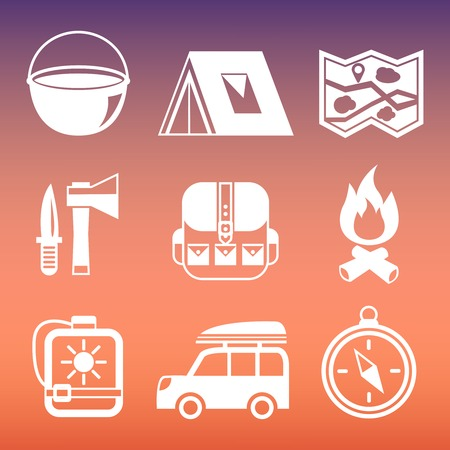 Outdoors tourism camping pictograms collection of compass tent campfire and knife isolated  Vector