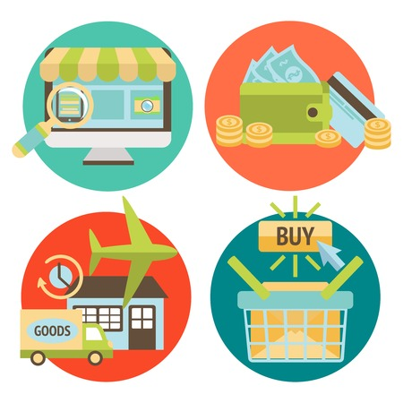 delivery service: Online shopping business icons set of internet catalog purchase and delivery service vector illustration Illustration