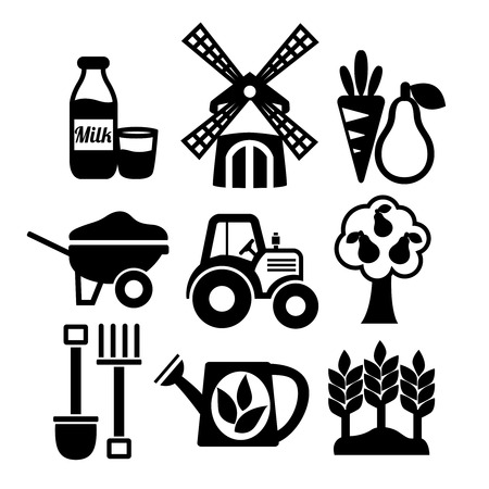 Farming harvesting and agriculture icons set of mill tractor wheelbarrow and spade isolated  Vector