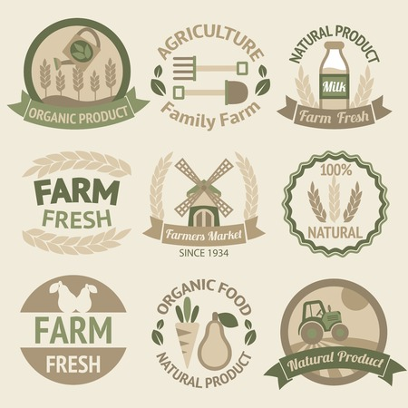 Farming harvesting and agriculture badges or labels retro vintage collection  Vector