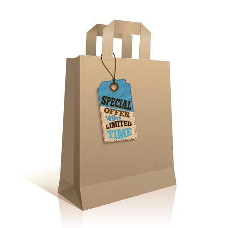 Big carry paper sale shopping bag with special price offer tag template isolated  Vector