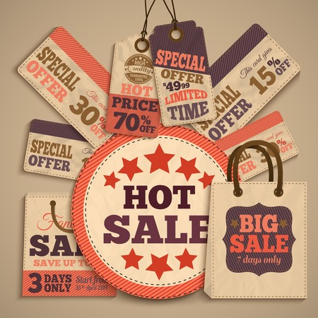 hot deal: Sale design concept with paper shopping bag and cardboard price tags and banners  Illustration
