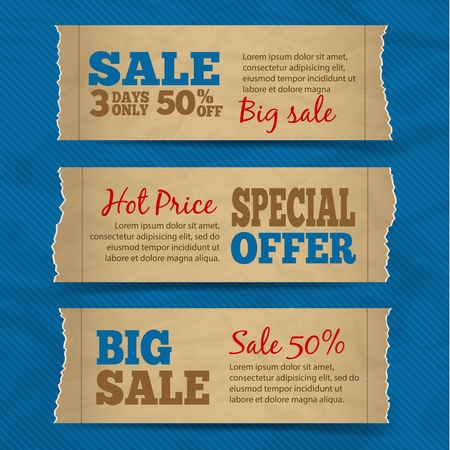Set of cardboard paper sale hot price special offer banners with blue background
