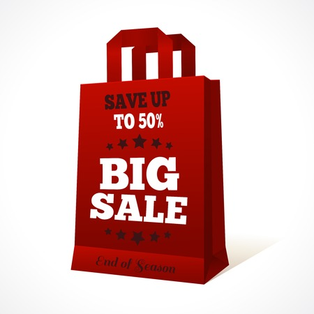 Red paper sale shopping bag with big sale text and stars design template  Vector