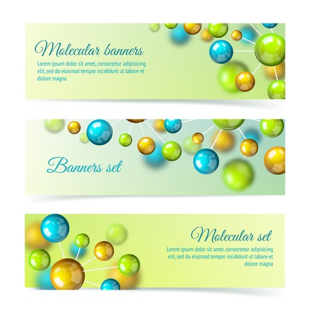Colored 3d chemistry atomic structure molecule model banner set Stock Vector - 27139628