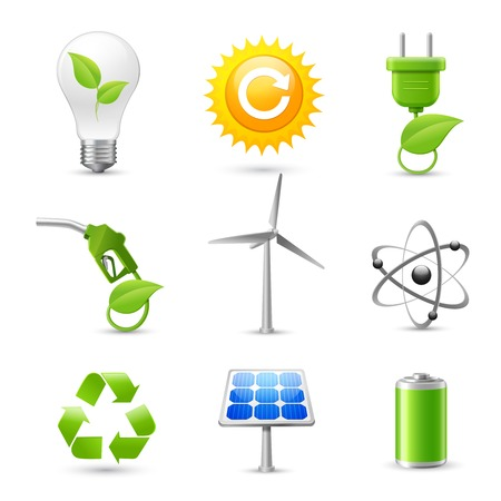 Realistic energy and ecology icons set with fossil gas solar panel and windmill decorative elements isolated  Vector