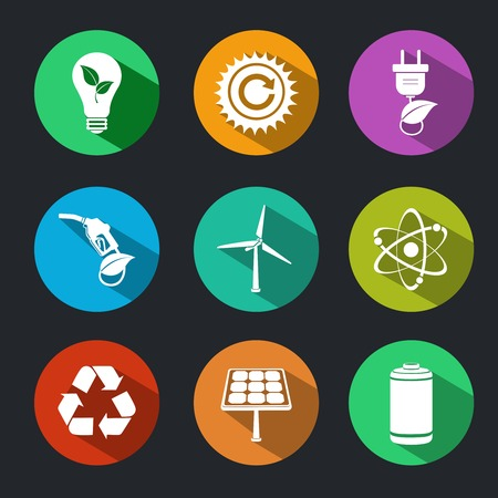 gas lamp: Flat energy and ecology icons set with light bulb nuclear power and gas station decorative elements isolated