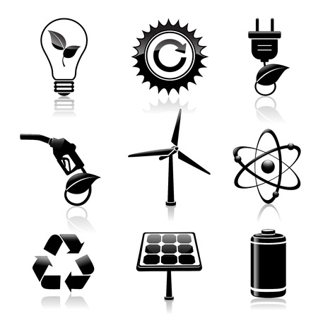 Black energy and ecology icons set with light bulb gas station and solar battery decorative elements isolated  Vector